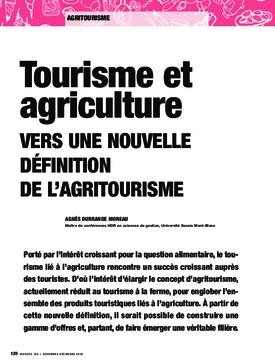 Tourisme et agriculture. Vers une nouvelle définition de l'agritourisme