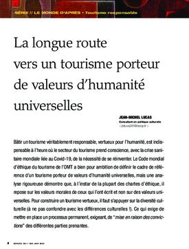 La longue route vers un tourisme porteur de valeurs d'humanité universelles
