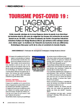 Tourisme post-Covid-19 : l'agenda de recherche