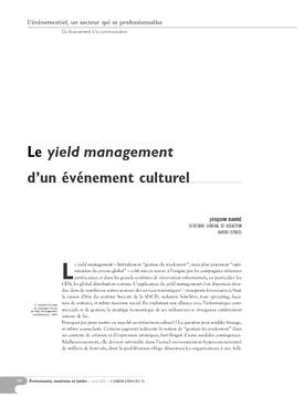 Le yield management d'un événement culturel