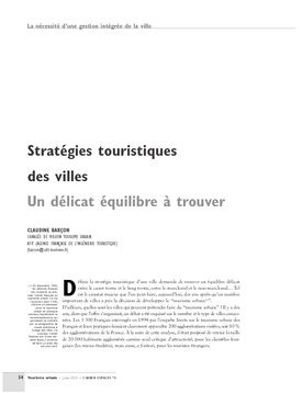 Stratégies touristiques des villes. Un délicat équilibre à trouver