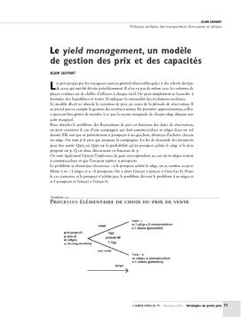 Le yield management, un modèle de gestion des prix et des capacités