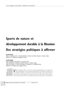 Sports de nature et développement durable à la Réunion. Des stratégies politiques à affirmer