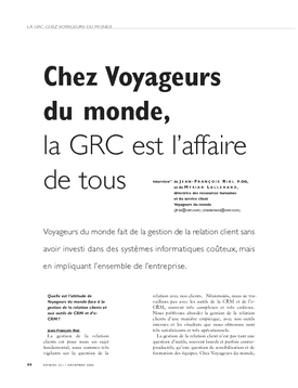 Chez Voyageurs du monde, la GRC est l'affaire de tous