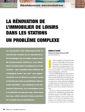 La rénovation de l'immobilier de loisirs dans les stations. Un problème complexe
