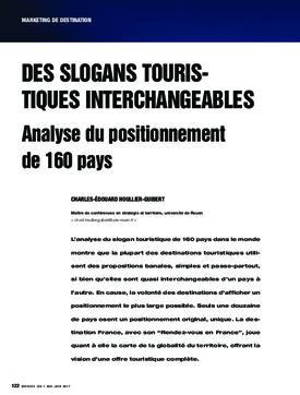 Des slogans touristiques interchangeables. Analyse du positionnement de 160 pays